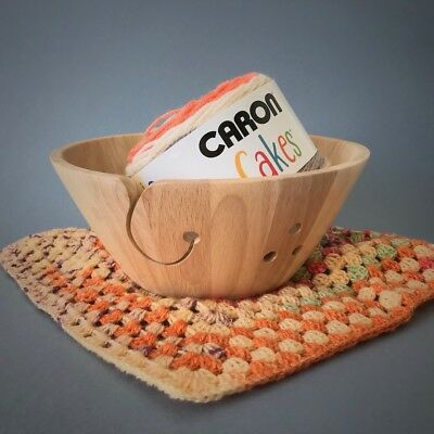 "Wooden Yarn Bowl 10"" x 4"" Knitting/Crocheting"