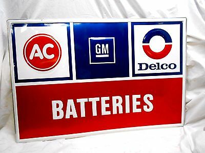 "New Vtg AC GM DELCO~BATTERIES~ CHEVROLET GAS OIL EMBOSSED SIGN 24""X36"" NOS"
