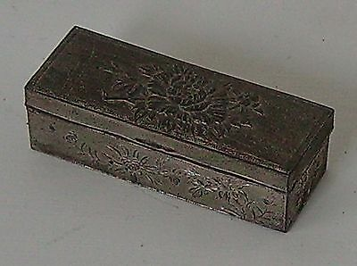 Metal Box Vintage Antimony Chrysanthemum Design Small Decorative Item