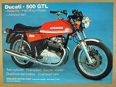 1977 Ducati 500-GTL 500GTL motorcycle color photo vintage print Ad