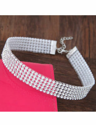 Silver plated choker with sparkly diamante rhinestone jewels - 3/5/8/12 rows