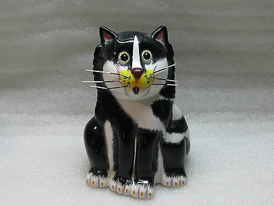 Bell Casa Black and White Cat Coin Bank by Ganz - NWT