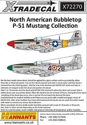Xtradecal X72270 1/72 North American Bubbletop P-51 Mustang  Model Decals