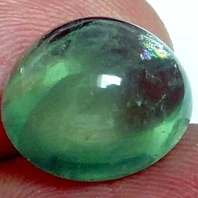 NATURAL GREEN FLUORITE LOOSE GEMSTONES (14.9 mm) ROUND CABOCHON-CUT (15.3 Cts)