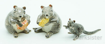 Figurine Animal Ceramic Statue 3 Rat Mice Mouse and Food - SRT005