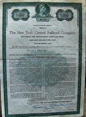 2 different. New York Central Railroad Company bond $1000 & $10,000 1913