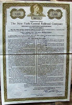 3 different. New York Central Railroad Company bond $1000, $5000 & $10,000 1921