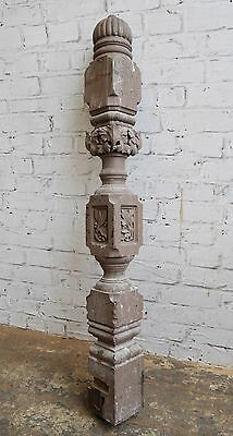 Antique Victorian Reclaimed Salvage Ornate Carved Floral Pine Stair Newel Post