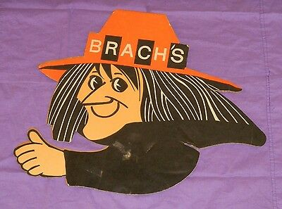vintage BRACH'S CANDY HALLOWEEN SIGN cardboard store display witch