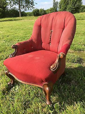 Small Antique Victorian Iron Back, Button Back Armchair