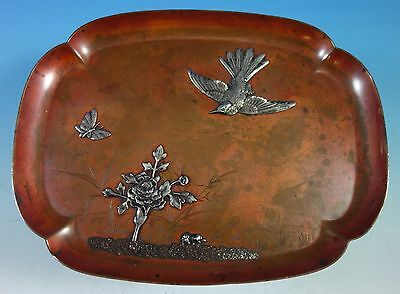 Mixed Metals by Gorham Sterling Silver Copper and Silver Tray #B73 (#1557)
