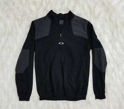Womens Oakley Hydrolix Black With Elbow Patches 1/4 Quarter Zip Size L / G