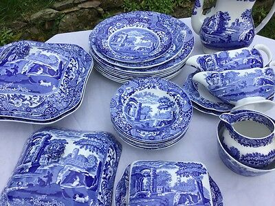 Spode Pottery Blue 'Italian' Pottery: Various Old & Recent Tableware Items
