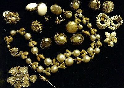 Lot Vintage Signed Miriam Haskell Pearl Jewelry Necklace Earrings Pin Repair