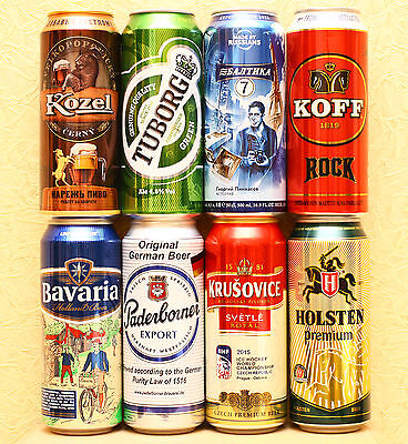 lot of 8 beer 0,5L cans Russian release empty #01