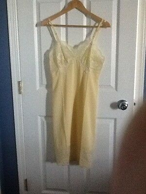 Vintage Vanity Fair Full Slip Lingerie Soft Buttery Yellow Size 34 USA Nightgown