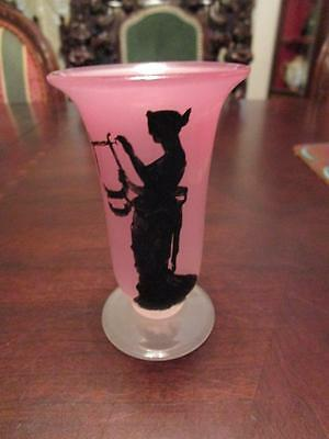 STEUBEN PINK GLASS ROSALINE FROSTED VASE, STENCIL ROMAN LADY, MARKED [a*3]