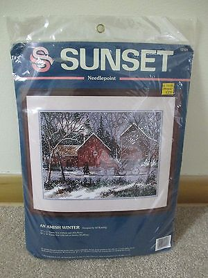 Vintage 1994 Dimensions Sunset Needlepoint Kit *an Amish Winter* #12101 Sealed
