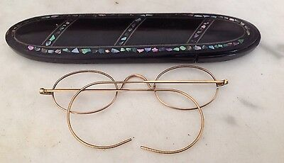 Victorian Antique Black Lacquer Papier Mache Abalone Shell Spectacles Case Vg.