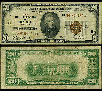 FR. 1870 B $20 1929 Federal Reserve Bank Note New York Fine