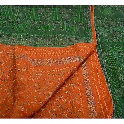 Sanskriti Vintage Indian Floral Printed Saree 100% Pure Silk Craft Fabric