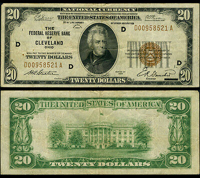 FR. 1870 D $20 1929 Federal Reserve Bank Note Cleveland Pinholes Very Fine