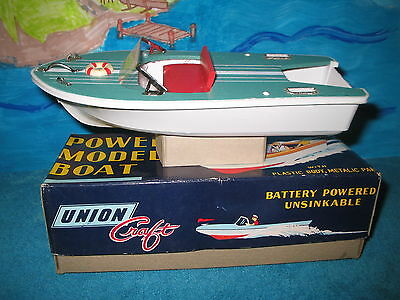 UNION CRAFT Motorboat, Vintage toy boat model from Japan with box Mint Condition