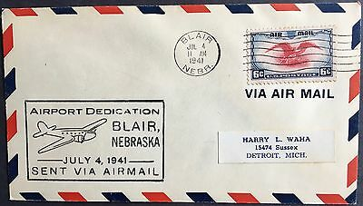 Two Aviation Special Event covers 1941 Blair and North Platte Nebraska