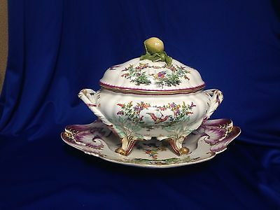 """C 1850 Meissen Porcelain Covered Tureen with Underplate 16.5"""" wide - Make Offer!"""