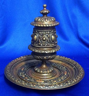 Ornate Victorian Bronze Inwell with Hinged Cover....Make Offer!