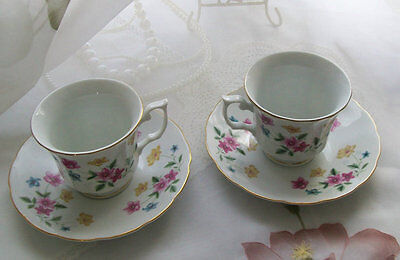 Vintage teacups two teacups and saucers by H. made in China tea party china cups