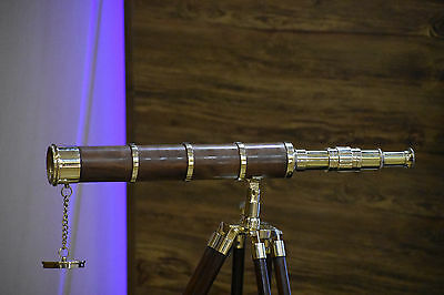 Marine Navy Antique Vintage Brass Double Barrel Telescope W/ Wood Tripod Stand
