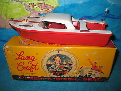 LANG CRAFT Motorboat, Vintage toy boat model from Japan with box Mint Condition