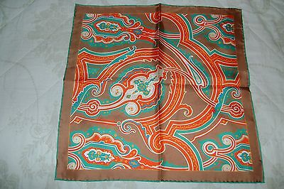 """Hand made Macclesfield silk pocket square 16"""" hand rolled gold orange Paisley"""