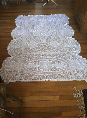 FRENCH NORMANDY LACE Coverlet, Tablecloth, Wedding Veil ALL HANDMADE