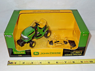 John Deere 125 Lawn & Garden Tractor With Attachments  By Ertl 1/16th Scale