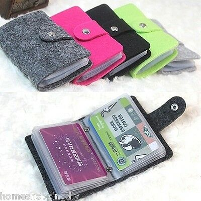 Fashion Lady Felt Credit Card Bank Bag Case ID Holders Business Wallets US Stock
