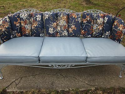 Rare Vintage Woodard Wrought Iron Orleans Outdoor Patio Porch Sofa Couch