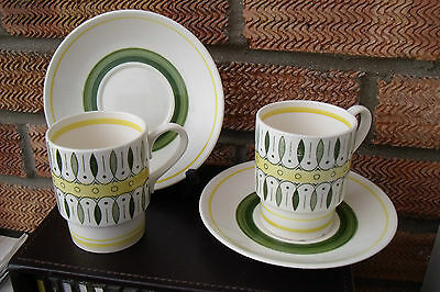 1960s Retro Dutch Pottery Royal Shinx Maastricht Holland Coffee Cans & Saucers.