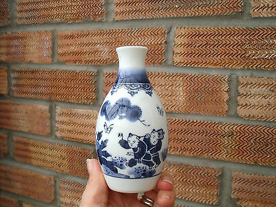 Oriental Chinese or Japanese Bud Vase with Young Boys & Butterflies/Flowers.
