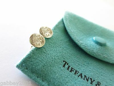 Tiffany & Co Silver Notes Script Round Circle Stud Earrings w/ Pouch