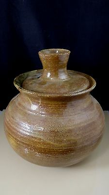 Vintage Brown Stoneware Art Pottery Vessel Jar Bowl Vase With Lid Signed Moore
