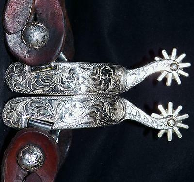 Sterling Silver Layered Stainless Steel Western Show 10 Point Spurs with Straps