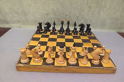 Vintage 1952 USSR СССР Soviet Wooden Chess Set with board