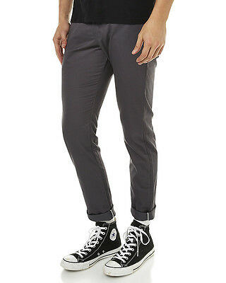 New Dickies Men's Skinny Straight Fit Work Pant Cotton Fitted Spandex Grey