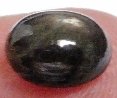 NATURAL LOVELY BLACK STAR SAPPHIRE LOOSE GEMSTONES (9 x 7.2 mm) OVAL-CABOCHON