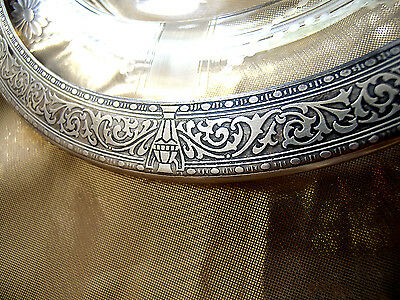 "1899s Heavy  American Sterling Silver Embossed Rim & Glass Plate  10 1/4"" x 1"""