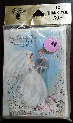 12 Unused VTG WEDDING thank-you cards 60's-70's Bride Groom unopened package