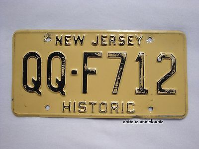 NEW JERSEY Vintage License Plate HISTORIC # QQ-F712