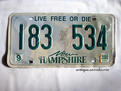 2000 NEW HAMPSHIRE Vintage License Plate # 183 534